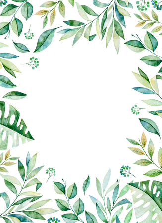 Photo for Watercolor frame border.Texture with greens, branch, leaves, tropical leaves, foliage.Perfect for wedding, invitations, greeting cards, quotes, pattern, logos, birthday cards, lettering etc. - Royalty Free Image