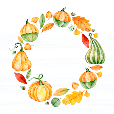 Photo for Bright autumn wreath with fall leaves, branches, berries, pumpkins, acorns etc.My Lovely Autumn collection.Perfect for wedding, frame, quotes, pattern, greeting card, logo, invitations, lettering etc - Royalty Free Image