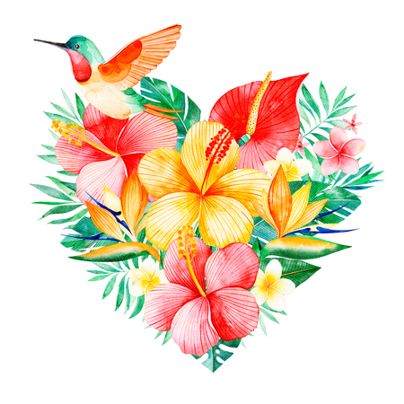 Photo for Tropical watercolor bouquet heart with greens, branch, exotic flowers, hummingbird, tropical leaves, foliage, palm leaves.Perfect for wedding, invitations, greeting cards, pattern, logos, birthday cards, pattern - Royalty Free Image