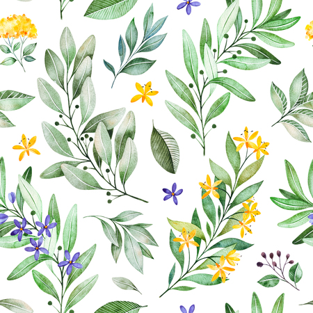Photo for Watercolor leaves branch seamless pattern on white background. Texture with greens, branch, leaves, flowers, foliage.Perfect for wedding, cover design, wallpapers, patterns, packaging, print etc - Royalty Free Image