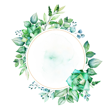 Foto de Watercolor Green illustration.Pre-made frame border with succulent plants, palm leaves, branches.Perfect for wedding, quotes, Birthday and invitation cards, greeting cards, print, blogs, bridal cards, logo etc. - Imagen libre de derechos
