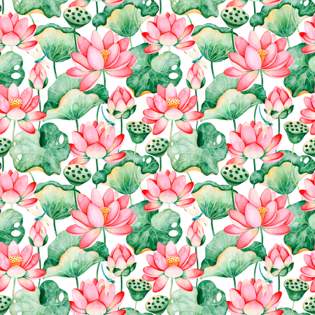 Photo pour Lotus watercolor texture.Seamless pattern on white background with water lilies and dragonflies.Perfect for your project, wedding, packaging, wallpaper, cover design, packaging, print etc - image libre de droit