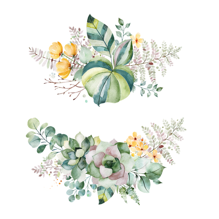 Foto de Watercolor Green illustration.2 Beautiful bouquets with succulents, palm leaves, branches, yellow flowers and more.Perfect for wedding, quotes, Birthday and invitation cards, print, blogs, bridal cards, logos. - Imagen libre de derechos