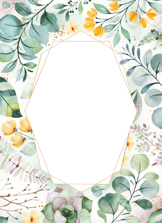 Foto de Watercolor Green illustration.Pre-made Greeting card with succulent plants, palm leaves, flowers, branches and more.Perfect for wedding, quotes, Birthday and invitation cards, print, blogs, bridal cards, logos - Imagen libre de derechos