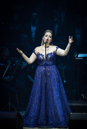 Photo for KYIV, UKRAINE - NOVEMBER 22, 2018: Singer performs on stage during The Game of Thrones Symphony Orchestra concert at National Palace of Arts Ukraina in Kyiv - Royalty Free Image