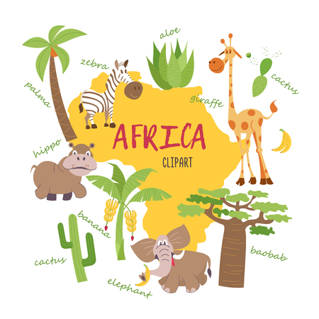 Illustration for Africa clipart. Nature and animals of Africa on the map. Giraffes, zebras, palm trees, bananas, aloe, cactus, baobab, elephant, Hippo. All the clipart supplied with inscriptions. - Royalty Free Image