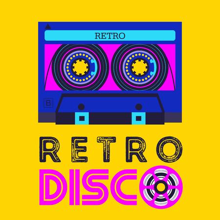 Illustration pour Retro music. Retro disco. Audio cassette.   Vector illustration. - image libre de droit