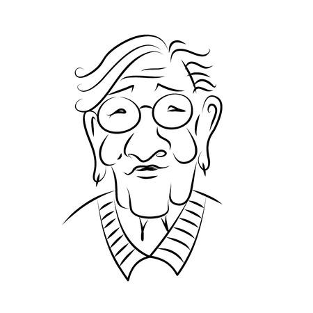 Foto de Portrait of an elderly woman with glasses. Hand drawn. Sketch. Black and white graphics. - Imagen libre de derechos