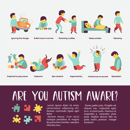 Illustrazione per Autism. Early signs of autism syndrome in children. Vector illustration. Children autism spectrum disorder ASD icons. Signs and symptoms of autism in a child, such as ADHD, OCD, depression, there, epilepsy and hyperactivity. - Immagini Royalty Free