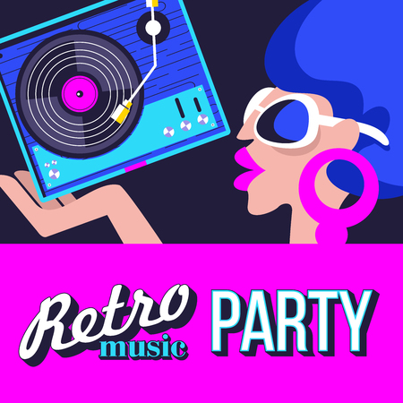 Illustration pour Retro disco party. A colorful poster, a poster in a retro style. Beautiful girl in sunglasses holding vinyl record. - image libre de droit