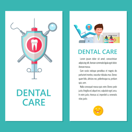 Illustration pour Dentistry. Dental care. Vector illustration in flat style. Promotional dental flyer with space for text. Dentist, dental chair, instruments. Logo of dentistry. - image libre de droit