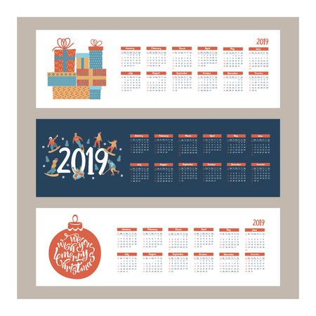 Calendar 2019. Vector illustration. A set of characters engaged in winter sports and recreation. People skate, snowboard, ski. Play ice hockey. Children sledding and snow tubing. Christmas ball with greeting inscription hand drawn. Large set of gifts.