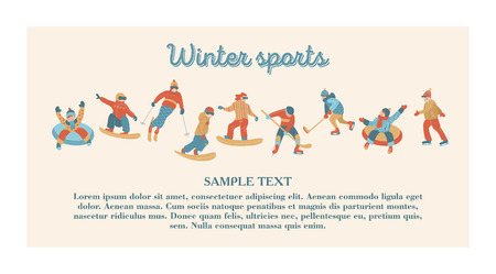 A large set of vector people who are engaged in winter sports and recreation in the snow.