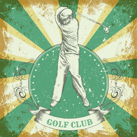 vintage poster with man playing golf. Retro hand drawn vector illustration golf club in sketch style with grunge background