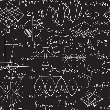Illustration pour Physical formulas, graphics and scientific calculations on chalkboard. Vintage hand drawn illustration laboratory seamless pattern - image libre de droit