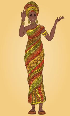 Ilustración de Dancing beautiful African woman in turban and traditional costume with ethnic geometric ornament full length. Hand drawn vector illustration. - Imagen libre de derechos
