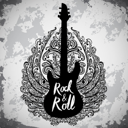 Illustration pour Vintage hand drawn poster with electric guitar, ornate wings and lettering rock and roll on grunge background. Retro vector illustration. Design, retro card, print, t-shirt, postcard - image libre de droit