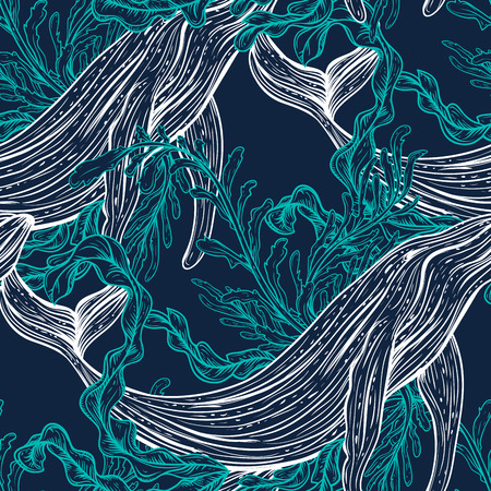 Illustration for Seamless pattern with whale, marine plants and seaweeds.Vintage set of black and white hand drawn marine life.Isolated vector illustration in line art style.Design for summer beach, decorations. - Royalty Free Image