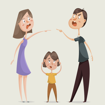 Illustration pour Divorce. Family conflict. Couple man and woman swear and child close his ears. Cartoon characters. Vector illustration - image libre de droit