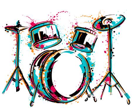 Illustration pour Drum kit with splashes in watercolor style. - image libre de droit