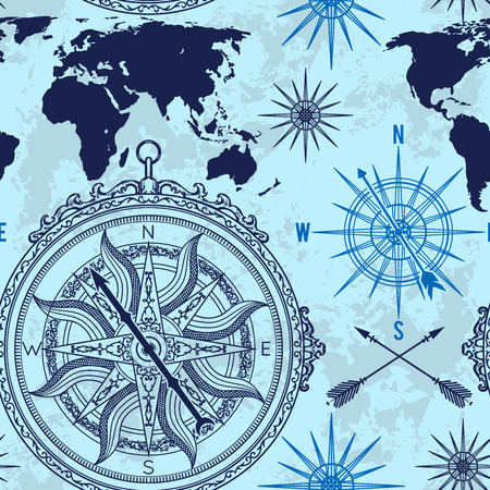 Illustration pour Seamless pattern with vintage compass, world map and wind rose. Retro hand drawn vector illustration on grunge background - image libre de droit