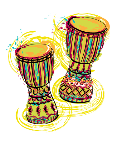 Illustration pour Drums tam tam with splashes in watercolor style. Colorful hand drawn vector illustration - image libre de droit