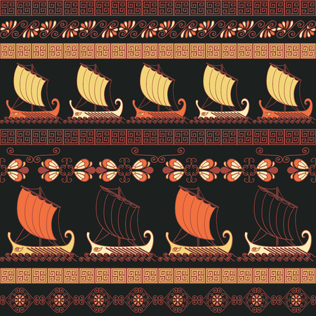 Illustration pour Seamless pattern with ancient greek ships and ornament. Traditional ethnic background. Vintage vector illustration - image libre de droit