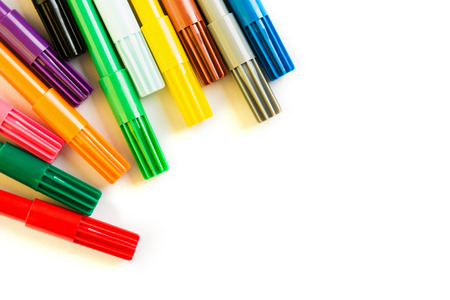 Foto de Colorful marker pen in round on isolated background. Vivid highlighter and copy space for your design or montage. View from above. - Imagen libre de derechos