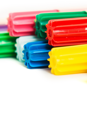 Foto de Colorful marker pen in line on isolated background. Vivid highlighter and copy space for your design or montage. - Imagen libre de derechos