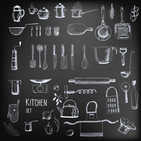 Kitchen set. Large collection of hand - drawn  kitchen related objects on chalkboard background.