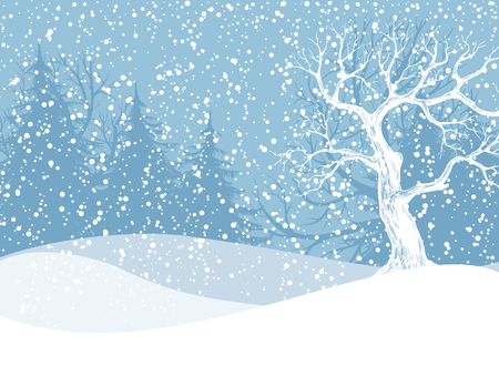 Illustration pour Winter landscape with fir trees and falling snow. Christmas illustration. Vector illustration contains gradient meshes. - image libre de droit
