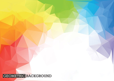 Ilustración de Polygonal rainbow background. Low poly style. Triangles - Imagen libre de derechos