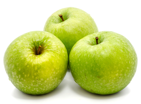 Photo pour Group of three whole green apples Granny Smith isolated on white background   - image libre de droit