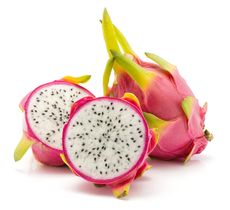 Foto de Dragon fruit (Pitaya, Pitahaya) isolated on white background one whole two sliced halves  - Imagen libre de derechos