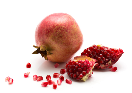 Photo for Fresh pomegranate with revealed grains isolated on white background  - Royalty Free Image