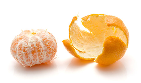 Photo for Peeled tangerine with separated rind isolated on white background  - Royalty Free Image