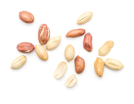 Photo for Raw peanuts top view isolated on white background (shelled, husk, whole, halves)  - Royalty Free Image