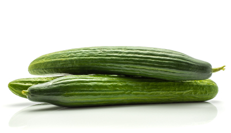 Foto de Three European cucumbers (burpless, seedless, hothouse, gourmet, greenhouse or English) isolated on white background  - Imagen libre de derechos