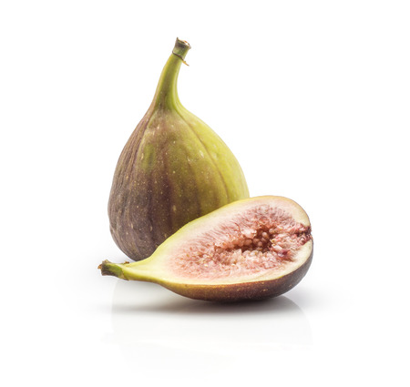 Photo pour One fig and a half with rose flesh isolated on white background ripe fresh purple green  - image libre de droit