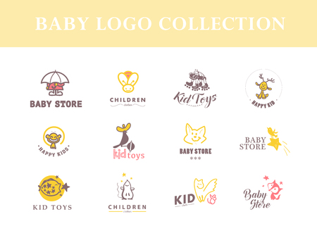 Vector collection of baby logo. Kids fashion label design. Children clothes brand. Baby and kid store insignia template.