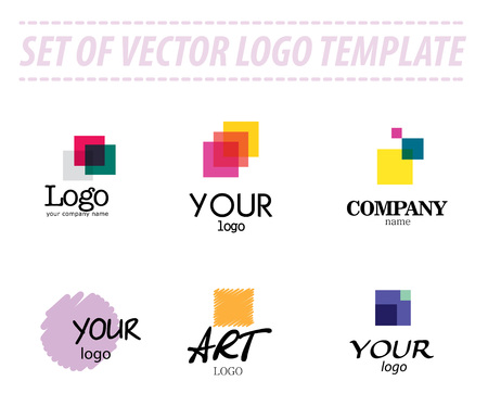Set of abstract vector logo templates on white background. Transparent logo sample. Universal company logo sample. Art logo template. Colorful logo group. Geometric shapes.