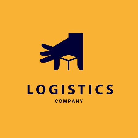 Foto de Vector flat logo template for logistics and delivery company. Shipping service insignia design. - Imagen libre de derechos
