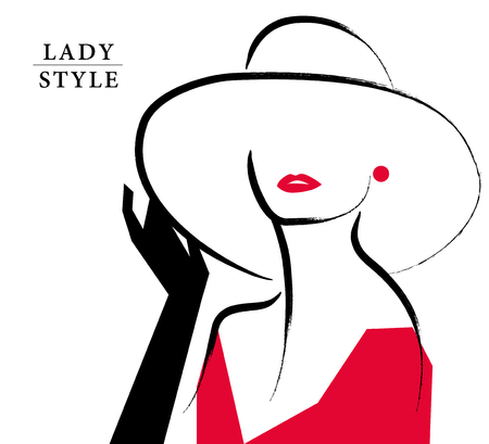 Ilustración de Vector artistic hand drawn stylish young lady portrait isolated on white background. Fashion girl, model. Woman in hat. Beauty illustration, element design. Fashion poster, placard, banner. - Imagen libre de derechos