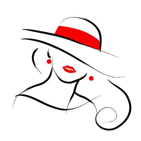 Illustration pour Vector hand drawn beautiful lady in hat portrait isolated on white background. Contour drawing. Black stroke. Fashion, beauty model. Young awesome woman silhouette. Advertisement design elements. - image libre de droit