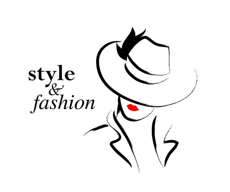 Ilustración de Vector hand drawn beautiful lady in hat portrait isolated on white background. Contour drawing. Black stroke. Fashion, beauty model. Young awesome woman silhouette. Advertisement design elements. - Imagen libre de derechos