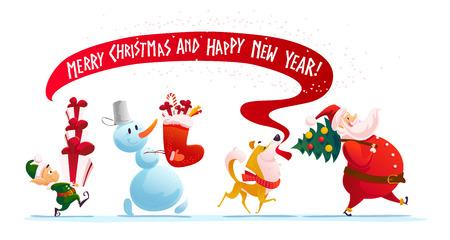 Ilustración de Vector flat merry christmas illustration with elf, dog, snowman, santa walking isolated with christmas presents. Cartoon style. Good for holiday banner, congratulation card design. - Imagen libre de derechos