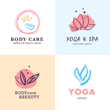 Illustration pour A Vector collection of yoga, beauty and spa symbols in light colors isolated on white background. Perfect for massage saloon, wellness and health care centers, fashion insignia design. - image libre de droit