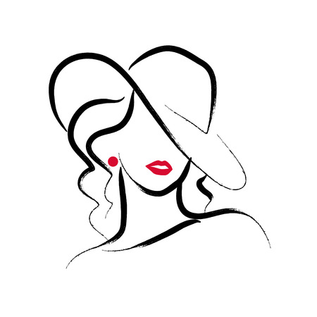 Illustration for A Vector artistic hand drawn stylish young lady portrait isolated on white background. - Royalty Free Image