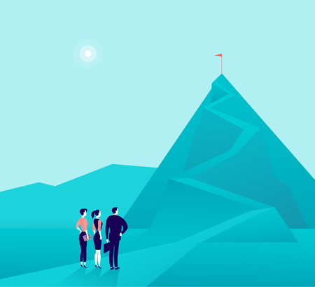 Illustration pour Vector business concept illustration with businessmen, woman standing at mountain pic and watching on top. Metaphor for growth, new aims & goals, team work & partnership, aspirations, motivation. - image libre de droit