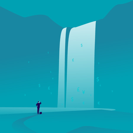 Ilustración de Flat art of businessman standing and watching at big great waterfall with money signs and symbols on blue background illustration. - Imagen libre de derechos
